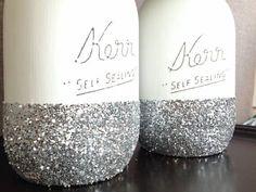 Glitter Dipped painted Mason Jars