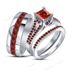 10k Mens Las White Gold Garnet Engagement Ring Wedding Bands Trio Bridal Set