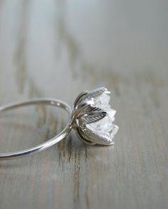 Raw Herkimer Diamond Ring Organic Natural Stone by Gemologies