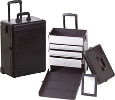 Professional Rolling Makeup Case w/ 3 Drawers  All Black Crocodile only $129.95 plus free shipping!