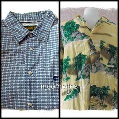 Lot 2 Mens XL Button Camp Shirts Hawaiian Print California Rainbow Timberland #Mix #ButtonFront