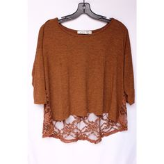 Lush Lace Top Lush floral lace back top in brown and 3/4 sleeve. No trades, reasonable offers welcome                                                                         ------------------------------                                                 All photos taken by me Lush Tops