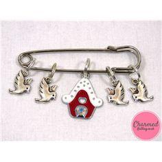 Christmas Birdhouse - Silver & Enamel Knitting Stitch Marker Set