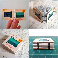 Vintage Photo Slide Journal (by thebiglittlelunch) A tiny photo slide journal using vintage photo slides, and mini blue graph paper pages. On the front slide of this particular book, there's tranquil ocean-and-beach-scene, and on the back, there's a...