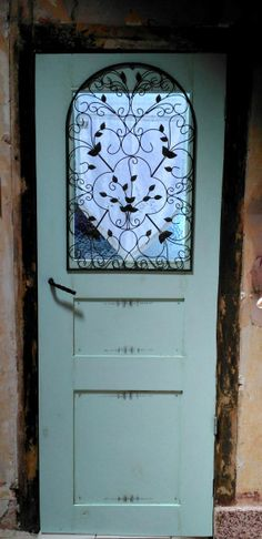Painted French door in 18thc frame