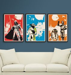 Vintage Pop Art Star Wars 3 Posters for 30 Dollars - Different sizes - Get one free. Fan Art Illustration Home Decor by 2ToastDesign on Etsy https://www.etsy.com/listing/172113715/vintage-pop-art-star-wars-3-posters-for