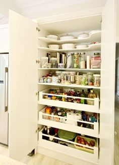 Kitchen Pantry Cabinet With Inch Deep Open Base Cabinet Aristokraft Cabinetry. Pantry Pull Out Shelves Pantry Shelving EzeGlide. Pull Out Larder Mechanism. Kitchen Pantry Design, Kitchen Pantry Cabinets, Kitchen Tops, Painting Kitchen Cabinets, Home Decor Kitchen, Diy Kitchen, Kitchen Interior, Home Kitchens, Kitchen Ideas