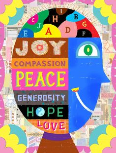 Noah Woods / Illustration on happiness for Johns Hopkins University / mixed media / noahwoods.com