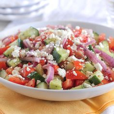 Enjoy this vegetable salad of crisp cucumbers and summer ripened tomatoes even if you are on a low sodium diet.