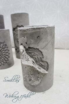 DIY: concrete candle holder / cement candle holder - All For Decoration Cement Art, Concrete Cement, Concrete Furniture, Concrete Crafts, Concrete Projects, Concrete Candle Holders, Diy Candle Holders, Diy Candles, Papercrete