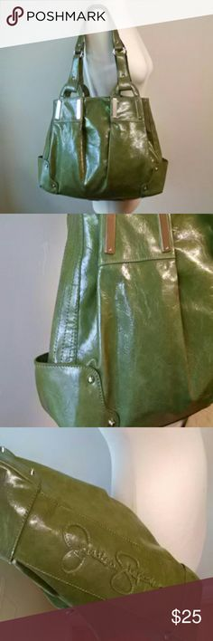 """Green Jessica Simpson oversized purse carryall Stud and stitching detail on this oversized bright green Jessica Simpson bag. Like new condition. Zippered inside pocket and separate compartment. Two open pockets. Magnetized closure. 16 x 9 x 4. 10"""" strap drop Jessica Simpson Bags Shoulder Bags"""