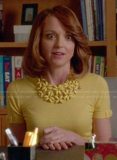 Emma's yellow bow sleeve sweater on Glee.  Outfit Details: https://wornontv.net/47090/ #Glee