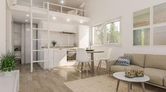 Small modular prefab house interior design www.k-ready,eu Prefab Modular Homes, Prefab Houses, Micro House, Compact Living, Living Styles, Tiny Spaces, Home Interior Design, House Ideas, Loft