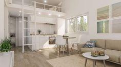 Small modular prefab house interior design www.k-ready,eu Prefab Modular Homes, Prefab Houses, Micro House, Tiny House, Compact Living, Living Styles, Tiny Spaces, Home Interior Design, Loft