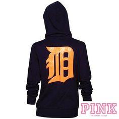 776343fb055 Victorias Secret PINK Detroit TIGERS MLB Baseball BLING HOODIE Jacket Size  XS