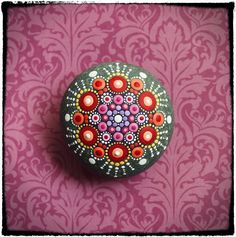 Jewel Drop Mandala Painted Stone Fireflies by ElspethMcLean, $42.00