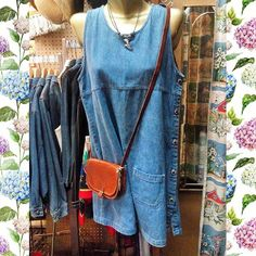 90s Northern Getaway denim side button dress/jumper, M; 90s adjustable beaded dolphin choker, 70s leather cross body satchel.