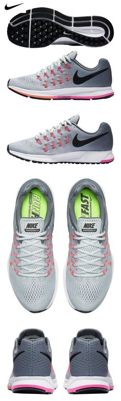uk availability d02f5 9c147  105 - Women s Nike Air Zoom Pegasus 33 (Wide) Running Shoe  Platinum Black Grey Pink Blast Size 7 Wide US