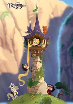 Rapunzel, Flynn & Mother Gothel [feat. Maximus & Pascal] (Chibis by PrinceKido @deviantART) #Tangled