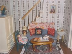 "1"" scale dollhouse miniature living room."
