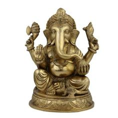 Amazon.com: Religious Statue And Figurine Ganesha Idol Hindu Décor; Brass; 5 X 4.5 X 7.5 Inches: Furniture & Decor