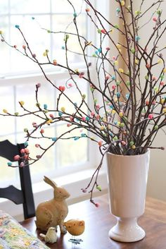 Hot glue jelly beans to tree branches for an adorable Easter Tree. | DIY Holiday Decor and Recipes