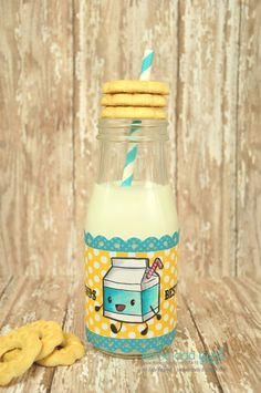 Re-purposed glass bottle using Some Odd Girl Cookies N Milk clear stamp. www.someoddgirl.com