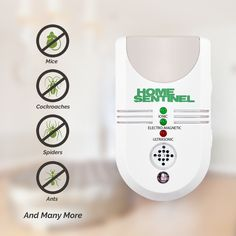 Home Sentinel - Indoor Pest Control Repeller with Ultrasonic, Electromagnetic, Ionizer & Auto Night Light