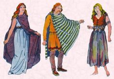 Celtic Dress About 600 BC to 100 AD: from the left we have a Celtic woman; in the centre a Celtic man and on the far right a Celtic peasant.