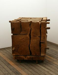 I want to make a table/footstool like this! so pretty. David Nash - Cracked Boxhttp://bmasiac.tumblr.com/post/103806752102/loverofbeauty-pierre-soulages-goudron-sur