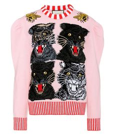 Gucci - Sequinned wool-blend sweater - Gucci's Italian-crafted wool-blend sweater features the label's snarling panther motif, sequinned bees at each shoulder and a sequinned UFO at the back. We love the red and white striped trims next to the baby pink hue. seen @ www.mytheresa.com
