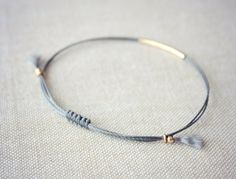 Lucia / Gold and Charcoal Friendship Bracelet