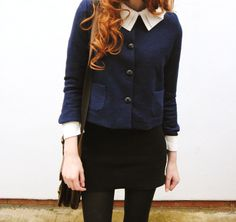Cosette Munch. navy and black, blouse, casual, cardigan, a line skirt, fashion, style