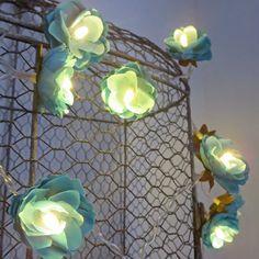 Deep Turquoise Rambling Rose Fairy Lights Flower by PamelaAngus, €17.00