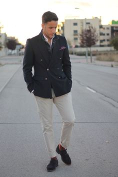Shop this look for $152:  http://lookastic.com/men/looks/pocket-square-and-longsleeve-shirt-and-double-breasted-blazer-and-double-monks-and-socks-and-chinos/707  — Purple Pocket Square  — White Longsleeve Shirt  — Charcoal Double Breasted Blazer  — Charcoal Suede Double Monks  — Brown Socks  — White Chinos