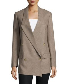 TBBW6 Michael Kors Collection Double-Breasted Crossover Boyfriend Jacket, Java