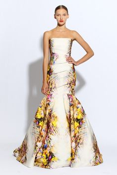 monique lhuillier wedding dress ivory mermaid floral printed
