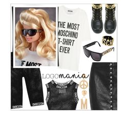 """""""Logomania!"""" by danielle-487 ❤ liked on Polyvore featuring moda, Moschino, Versus, women's clothing, women, female, woman, misses, juniors ve logomania"""