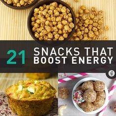 21 Healthy and Portable Energy-Boosting Snacks — Feeling sluggish? Rev up your energy with these healthy snacks. Healthy Snacks, Healthy Eating, Healthy Recipes, Smart Snacks, Healthy Options, Clean Eating, Snack Recipes, Cooking Recipes, Good Food