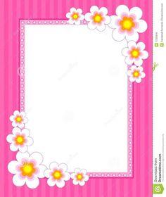 Pink Flower Border   flowers on pink background [spring / summer flowers] floral border ...