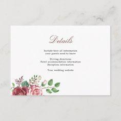 Wedding Accommodation Details Burgundy Blush Roses Enclosure Card