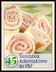 45 Lunchbox Alternatives to PB&J. There are a surprising number of good ideas in here considering neither of my kids can have nuts and one can't have dairy.