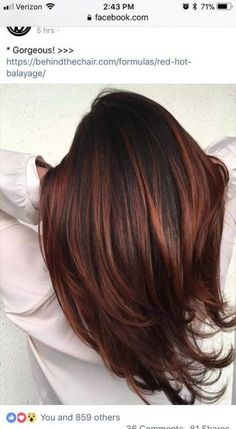 Pretty layers and rich red tones. Are you looking for auburn hair color hairstyles? See our collection full of auburn hair color hairstyles and get inspired! Brown Balayage, Hair Color Balayage, Blonde Balayage, Hair Highlights, Brown Highlights, Brown To Red Ombre, Dark Auburn Hair Color, Hair Color For Black Hair, Brown Hair Colors