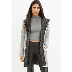 Love 21 Two-Tone Textured Cardigan (€40) ❤ liked on Polyvore featuring tops, cardigans, textured top, white open front cardigan, white cardigan, long sleeve open front cardigan and love 21