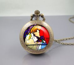 Sleeping Beauty Kiss Pocket Watch Locket Necklace. Mine. Buying. Right now.