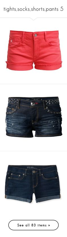 """tights,socks,shorts,pants 5"" by cathrine1216 ❤ liked on Polyvore featuring shorts, bottoms, pants, short, pink, short denim shorts, short jean shorts, pocket shorts, tall denim shorts and pink short shorts"