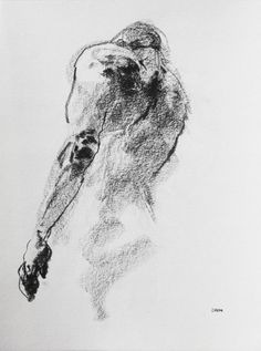 """Male Back - Figurative Art - Drawing 180 - 9 x 12"""" conte on paper - original drawing by Derek Overfield"""