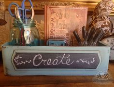 A to Z Custom Creations- repurposed sewing machine drawer with chalkboard pane