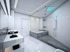 salle de bains claire et moderne avec paroi de douche vitrée, baignoire et carrelage d'aspect pierre