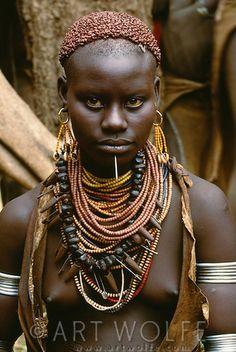 Africa | Karo tribeswoman, Murle region, Ethiopia | ©Art Wolfe